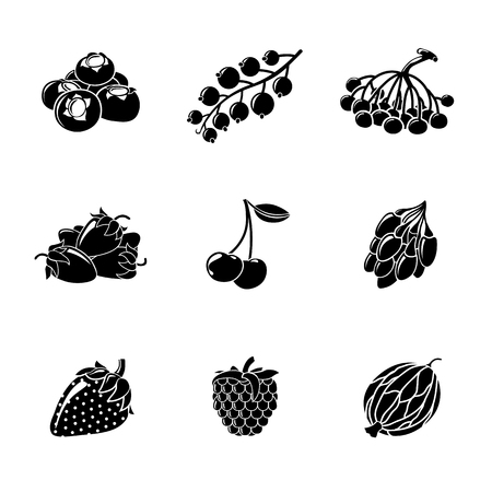 nutrition label: Set of monochrome BERRIES icons - cherry and strawberry, raspberry and currant, blueberry, gooseberry, rowan, goji.