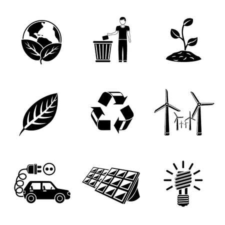 garbage disposal: Set of ECOLOGY icons with - recycle sign, green earth, leaf, garbage disposal, wind power station, plant, solar power station, light bulb, electro car.
