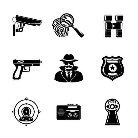 secret agent: Set of Spy icons - fingerprint, spy and gun, binocular, eye in keyhole, badge, surveillance camera, rear sight, dictaphone.