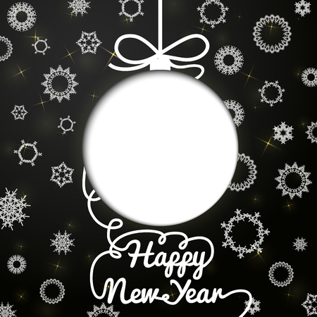 white sticker: New year handwritten swirl lettering greeting card on black paper with snowflakes, and cut through paper in shape of christmas ball. With place for your text. Vector.