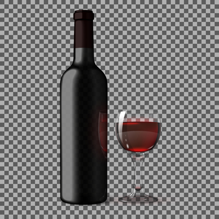 wine background: Transparent blank black realistic bottle for red wine isolated on plaid background with glass of red wine. Vecto