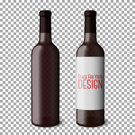 grape vines: Two transparent blank black realistic bottles for red wine isolated on plaid background with place for your design and branding. Vector illustration