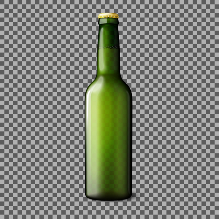 cold pack: Green transparent realistic beer bottle isolated on plaid background with place for your design and branding. Vector illustration
