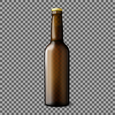 dew cap: Blank transparent brown realistic beer bottle isolated on plaid background with reflection. Vector illustration