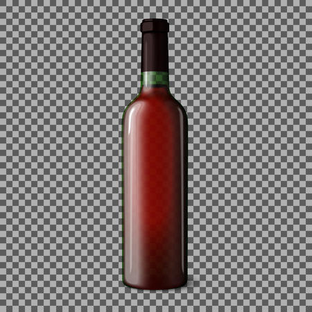 wine red: Transparent blank realistic bottle for red wine isolated on plaid background with place for your design and branding. Vector illustration