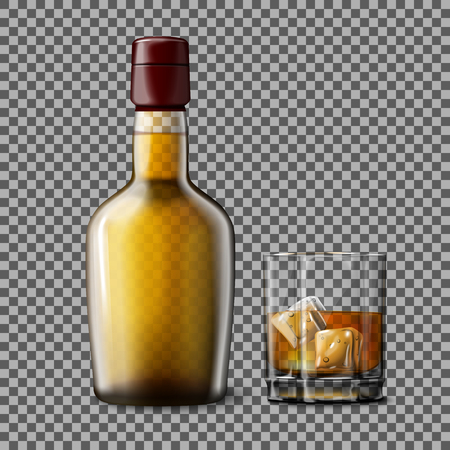 scotch: Transparent realistic Vector bottle and glass with smokey Scotch Whiskey and ice isolated. Glass and drink for every background.