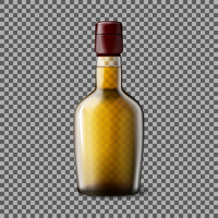scotch: Transparent realistic Vector bottle with smokey Scotch Whiskey and ice isolated. Glass and drink for every background. Illustration
