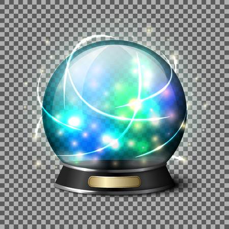 Transparent realistic bright glowing crystal ball for fortune tellers. Isolated on plaid background with reflection. Vector illustration