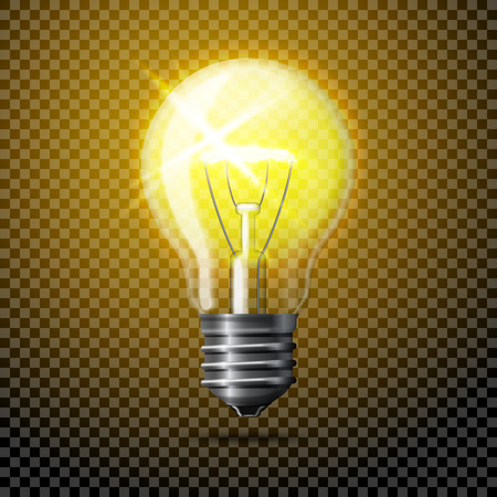glowing light bulb: Transparent  realistic glowing light bulb on plaid background.