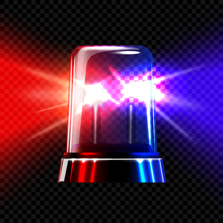 flasher: Red and blue emergency transparent flashing siren on dark plaid background. Vector illustration