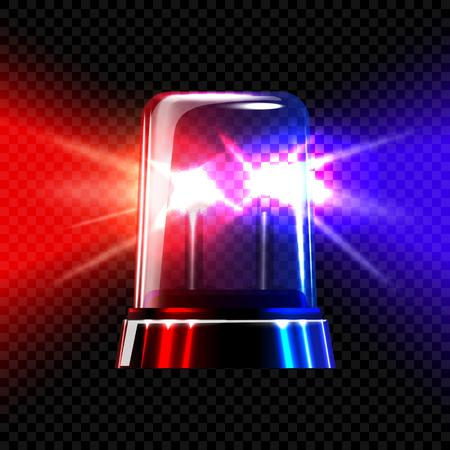 sirène rouge et bleu urgence transparents clignotants sur plaid fond sombre. Vector illustration