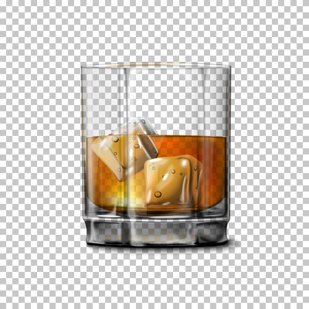 scotch: Transparent realistic Vector glass with smokey Scotch Whiskey and ice isolated. Glass and drink for every background.