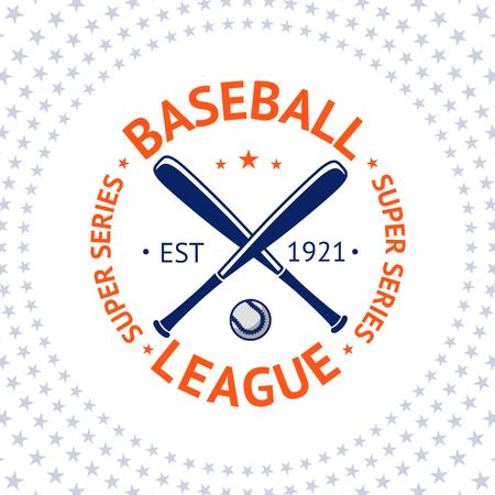 bate: Etiqueta antigua del estilo del béisbol con la bola y de los palos. ilustración vectorial