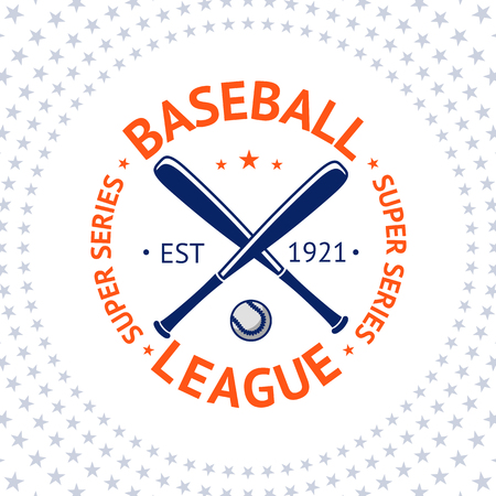 base: Old style Baseball Label with ball and bats. Vector illustration