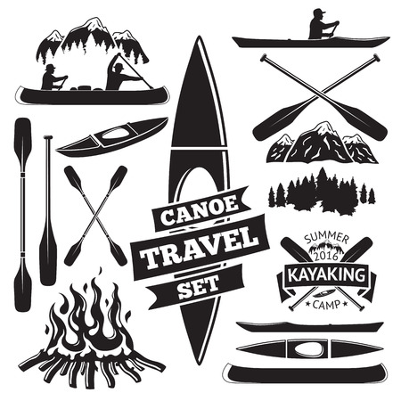 Set of canoe and kayak design elements. Two man in a canoe boat, man in a kayak, boats and oars, mountains, campfire, forest, label. Vector illustration Vectores