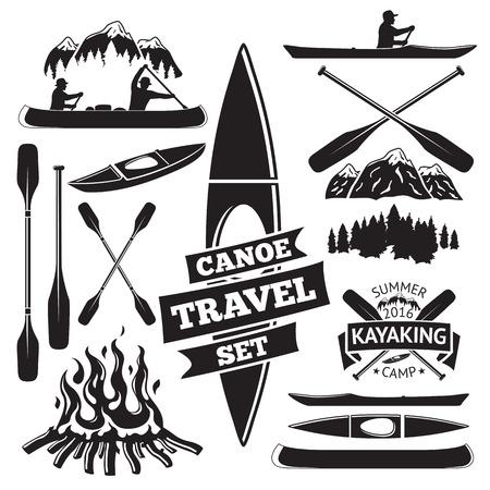 Set of canoe and kayak design elements. Two man in a canoe boat, man in a kayak, boats and oars, mountains, campfire, forest, label. Vector illustration Illustration