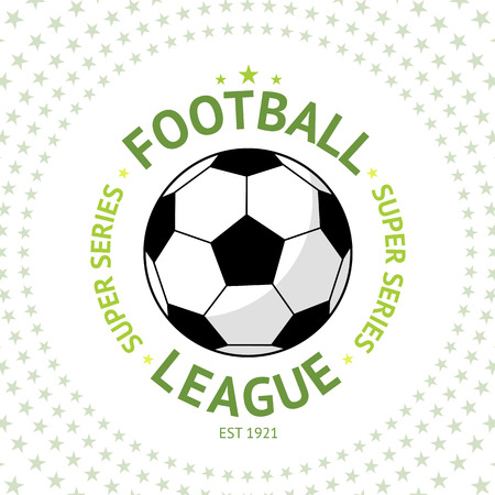 premier league: Old style vintage Football Label with ball on star background Vector illustration Illustration