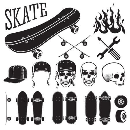 skate park: Set of skateboarding designer elements. Skates and flames, skull, helmet and cap. Vector