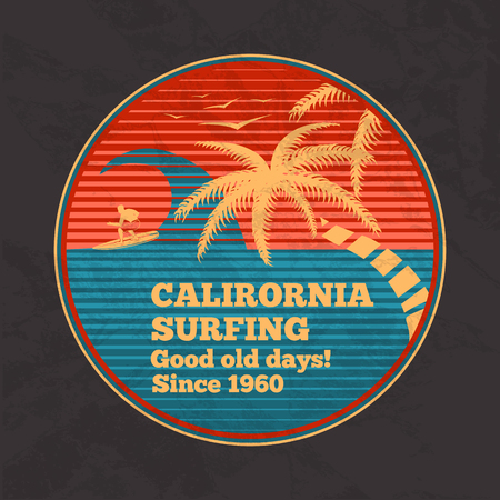 vintage wave: Vector vintage surfing poster - California Surfing, good old days. With palms, birds, wave and silhouette of surfing man. Retro style.