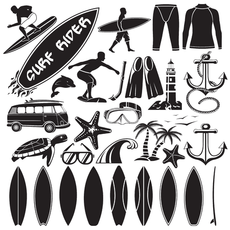 Vector set of surfing design elements - surfers, surf board, swim suit, palms, dolphin, turtle, anchor, different surf shapes, car with surfboards.