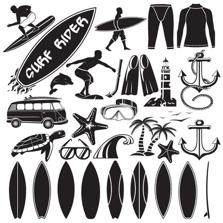 Vector set di elementi di design di navigazione - surfisti, tavola da surf, costume da bagno, palme, delfini, tartarughe, ancora, diverse forme di surf, auto con tavole da surf.