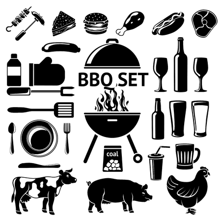 party drinks: Set for BBQ party. Grill and drinks, instruments, meat types etc.
