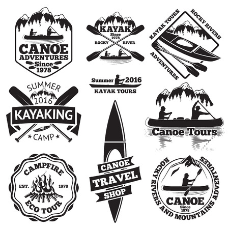 Set of canoe and kayak labels. Two man in a canoe boat, man in a kayak, boats and oars, mountains, campfire, forest, canoe tours, kayaking, canoe travel shop. illustration