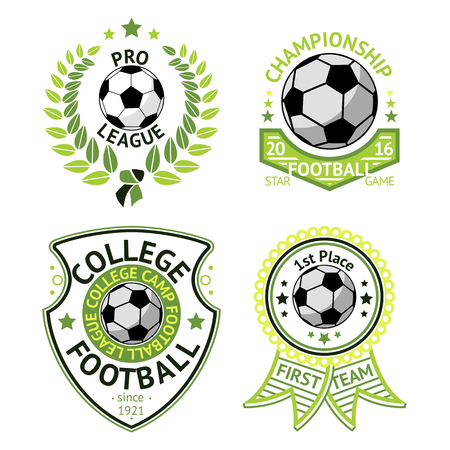 league: Set of green vintage Football labels. With laurel wreath, ball, shield and ribbons.