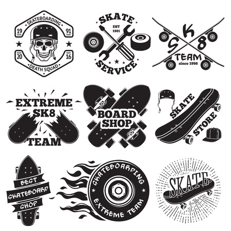 Set of skateboarding labels - skull in helmet, repair shop, skate team, board shop, etc. illustration
