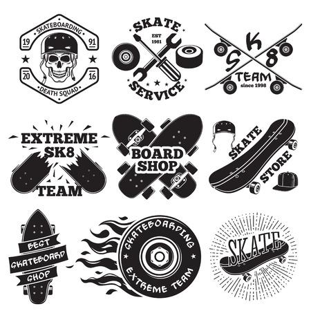 Set of skateboarding labels - skull in helmet, repair shop, skate team, board shop, etc. illustration