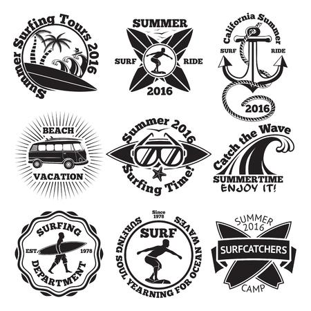 vintage wave: Set of vintage surfing labels with - surfboard, surfer, palms, anchor, sunglasses, wave etc. illustration