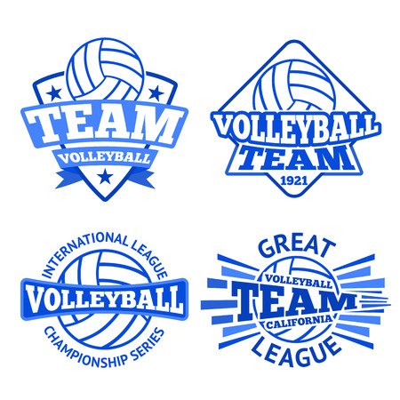 collegiate: Set of volleyball badges, templates etc. Illustration