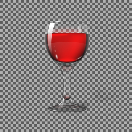 photorealistic: Transparent photo realistic isolated on plaid, wine glass with red wine, for branding and your design. illustration