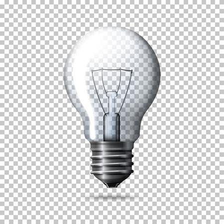 Transparente realistische Glühbirne auf karierten Hintergrund.