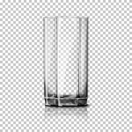 glass reflection: Transparent realistic glass isolated on plaid background with reflection, for design and branding.