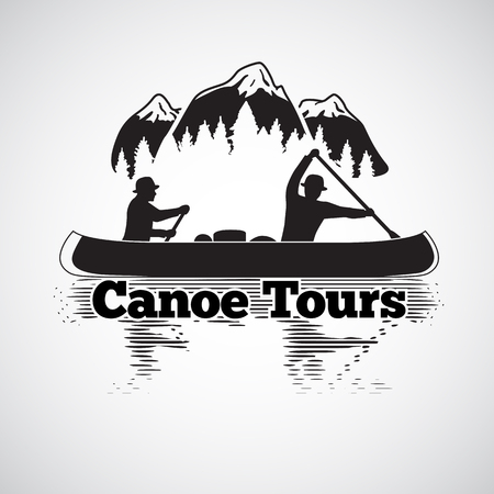 Canoe tours label. Two man in a canoe boat, with reflection in the river, with mountains and forest landscape. illustration Illustration
