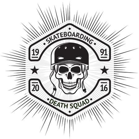 Skateboard Vintage-Label mit dem Schädel in Helm, in Form einer Schraubenmutter, mit Schild - Skateboarden Death Squad. Standard-Bild - 60632762