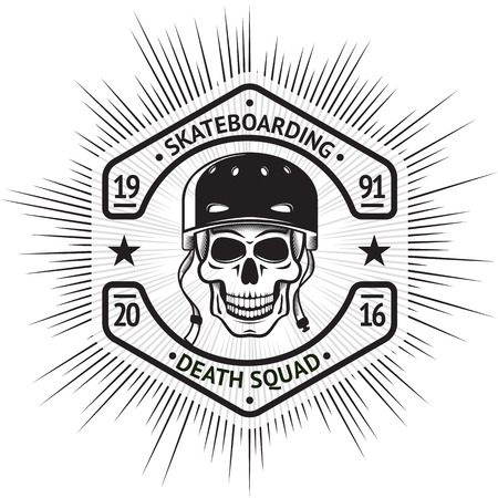 squad: Skateboarding vintage label with skull in helmet, in shape of a screw-nut, with sign - Skateboarding Death Squad.