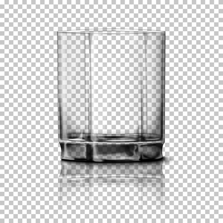 countertop: Transparent realistic glass isolated on plaid background with reflection, for design and branding.