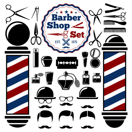 barber pole: Barber Shop accessories set. With silhouettes of barber instruments, barber pole, hairstyles. Vintage style.