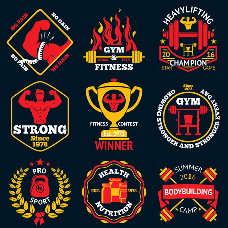 bodybuilding: Bodybuilding bright labels set - strong man,barbell, dumbbell, laurel, goblet etc