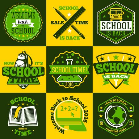 schoolbus: School labels set. With schoolbus, book, backpack, pencils ruler globe etc