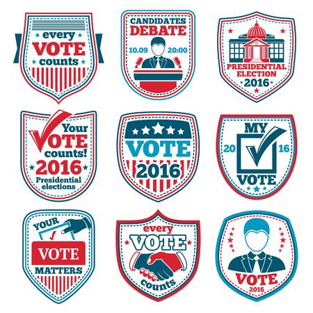 voter registration: Vote labels and badges for elections, debates etc. Illustration