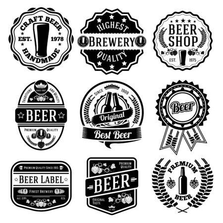 set of beer labels and emblems Vector Illustration