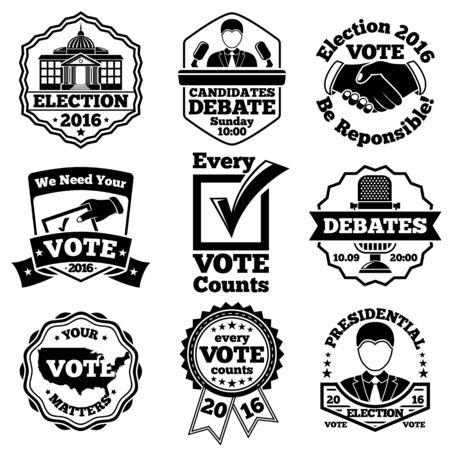 voter registration: Vote and election labels badges Illustration