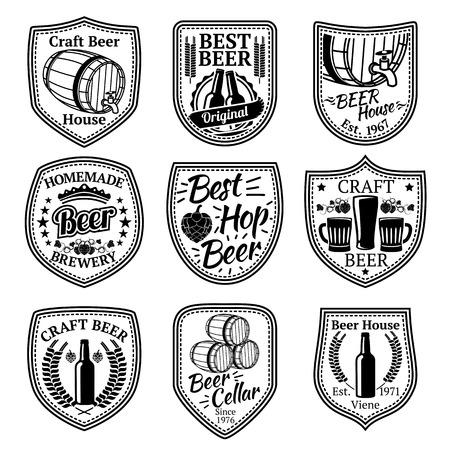 bottle label: Set of badges for beer and brewery business. Illustration