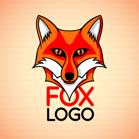 Badge sign template with red fox face Illustration