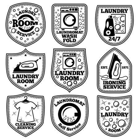 etiquetas de lavado establecen Ilustración de vector