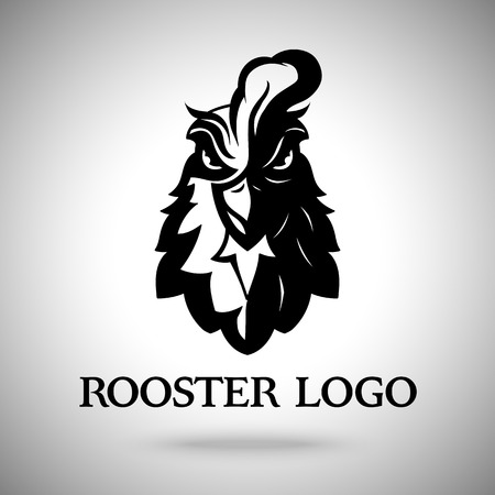 chicken wings: Vector rooster head logo template for business Illustration