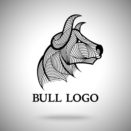 traders: Vector Bull logo template for sport teams, business brands etc.